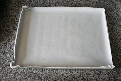 bandeja con papel manteca
